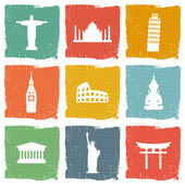 Travel landmarks icons — Stock Vector