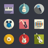 Flat music icons — Stock Vector