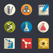 Science theme flat icons — Stock Vector