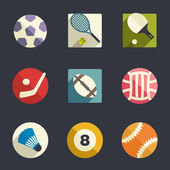Sport theme flat icon set — Stock Vector
