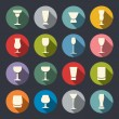 Stock Vector: Alcohol glass flat icon set