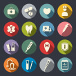 Stock Vector: Flat medical icons