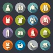 Stock Vector: Clothes flat icons