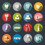 iconos plana tema dental — Vector de stock  #40627665