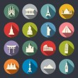 Stock Vector: Famous travel landmarks flat icon set.