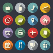 Airport and airlines services flat icons — Vettoriale Stock