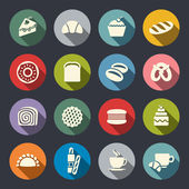 Flat bakery icon set — Stock Vector