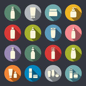 Cosmetic bottle flat icons — Stock Vector