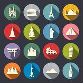 Famous travel landmarks flat icon set. — Stock Vector