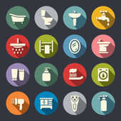 Bathroom flat icon set — Stock Vector