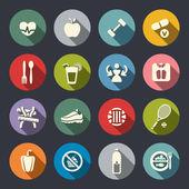 Fitness ikonuppsättning — Stockvektor