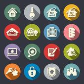 Conjunto de iconos de bienes raíces — Vector de stock