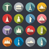 Travel landmarks icon set — Vector de stock