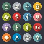 Energi ikonuppsättning — Stockvektor