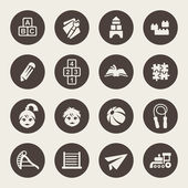 Preschool vector icons set — Stock Vector