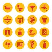 ванная комната значки — Cтоковый вектор