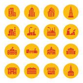 Icone di edifici — Vettoriale Stock