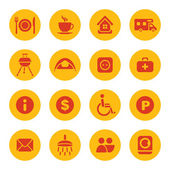 Camping facilities icons — Stock Vector