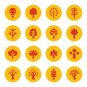 деревья значки — Cтоковый вектор