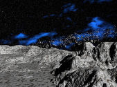 Asteroids above planet — Stock Photo
