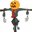 Scarecrow halloween pumpkin cartoon - Stock Vector