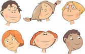 Set of children's faces cartoon — 图库矢量图片