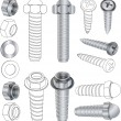 The complete set bolts and nuts Clip-Art — Stock Vector