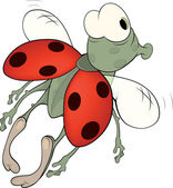 Ladybird from a fairy tale. Cartoon — Stockvector