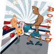 Boxers on a ring. Caricature - Stock Vector