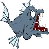 Tiefseefische. raubtier. cartoon — Stockvektor