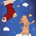 猫と贈り物と靴下。漫画 — ストックベクタ