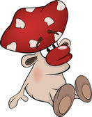 Magic poisonous mushroom. Cartoon — 图库矢量图片