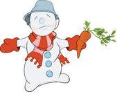 Boule de neige de noël et une carotte. dessin animé — Vecteur