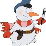 Snowball the policeman. Cartoon — Stock Vector