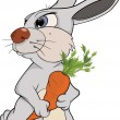 Rabbit and a carrot. Cartoon - Stock Vector