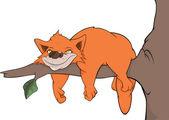Gato en un árbol. dibujos animados — Vector de stock