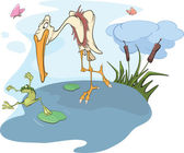 Heron and frog. Cartoon — Stock Vector
