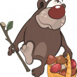Bear with a basket with mushrooms. Cartoon - Stock Vector