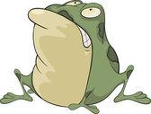 The green toad . Cartoon — Stock Vector