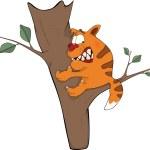 Cat on a tree. Cartoon — Stock Vector #18934933