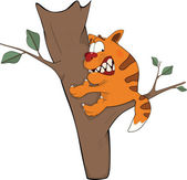 Cat on a tree. Cartoon — Stock Vector