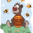 Bear and a wooden keg with honey - Stock Vector