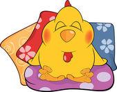 Chicken and pillows cartoon — Stock Vector