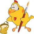 Chicken the house painter cartoon - Image vectorielle