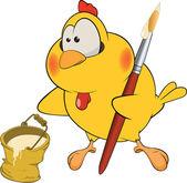 Chicken the house painter cartoon — Stock Vector