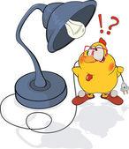 Chicken and a desk lamp cartoon — Stock Vector