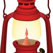Stock Vector: Old red lamp