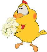 Chicken and flowers cartoon — Stock Vector