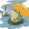 Frog and a rain cartoon - Stock Vector