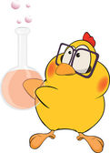 Chicken the chemist cartoon — Stock Vector